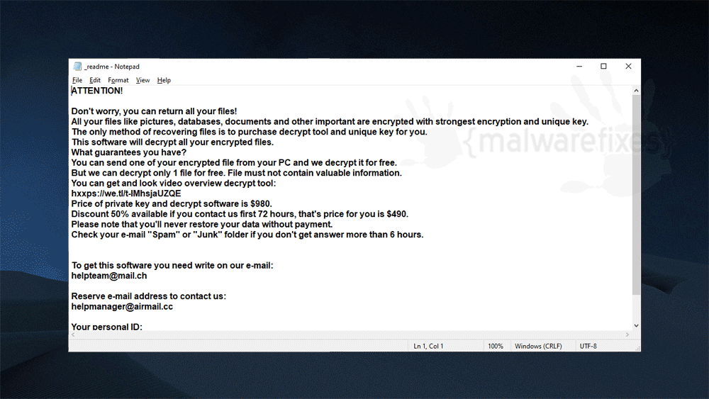 Screenshot of Tisc ransom note