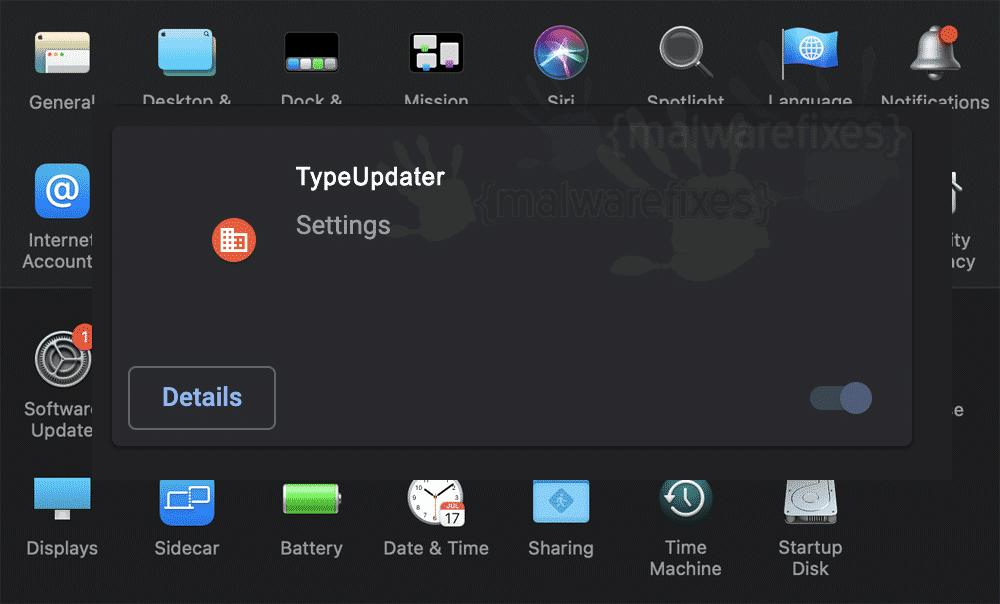 Screenshot of TypeUpdater App